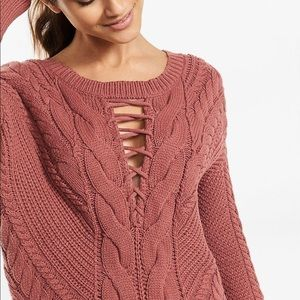 Express Lace-Up inset Cable Knit Sweater